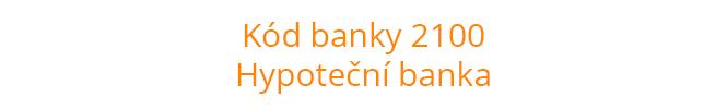 Kód banky 2100